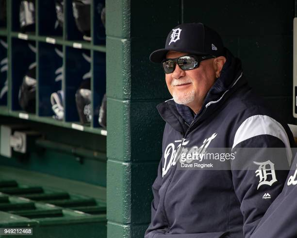 Manager Ron Gardenhire of the Detroit Tigers watches the action from the dugout during a MLB game against the Baltimore Orioles at Comerica Park on...