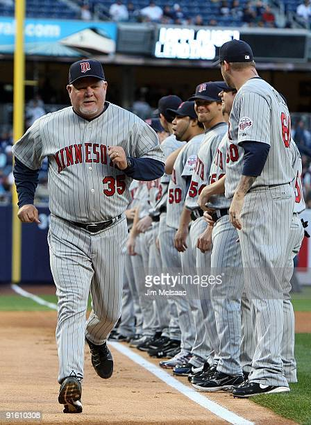 Manager Ron Gardenhire of the Minnesota Twins is introduced before Game One of the ALDS against the New York Yankees during the 2009 MLB Playoffs at...
