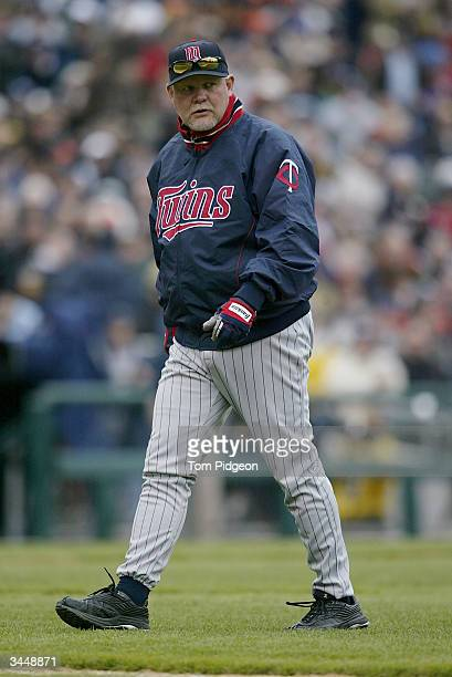 Manager Ron Gardenhire of the Minnesota Twins walks back to the dugout during the game against the Detroit Tigers on opening day at Comerica Park on...