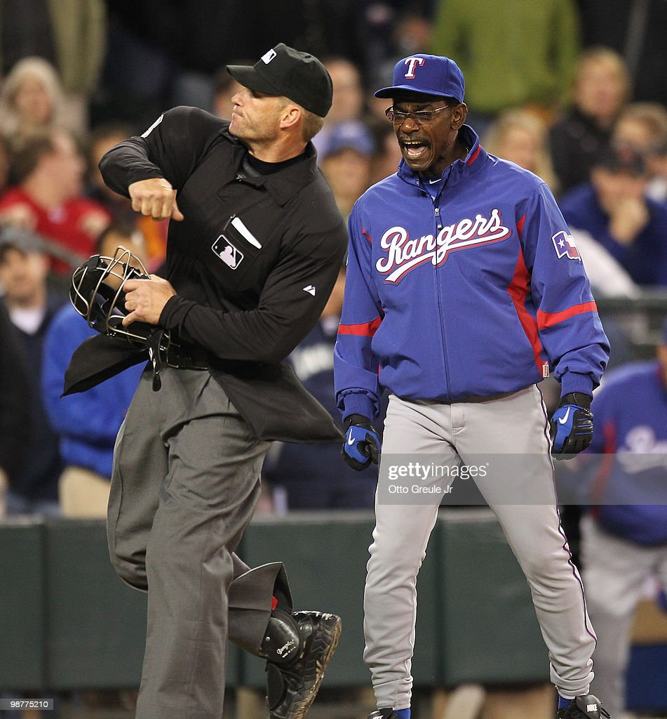 Manager Ron Washington #38 of the Texas Rangers is ejected from the game by home plate umpire Jim Wolf against the Seattle Mariners at Safeco Field on April 30, 2010 in Seattle, Washington. The Rangers defeated the Mariners 2-0 in twelve innings. Photo by Otto Greule Jr/Getty Images)