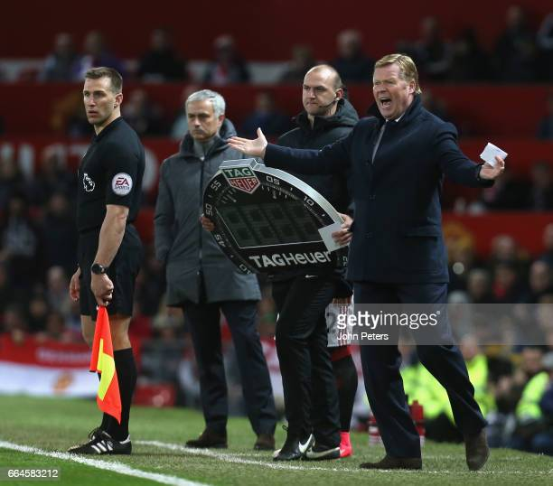 Manager Ronald Koeman of Everton watches from the touchline during the Premier League match between Manchester United and Everton at Old Trafford on...
