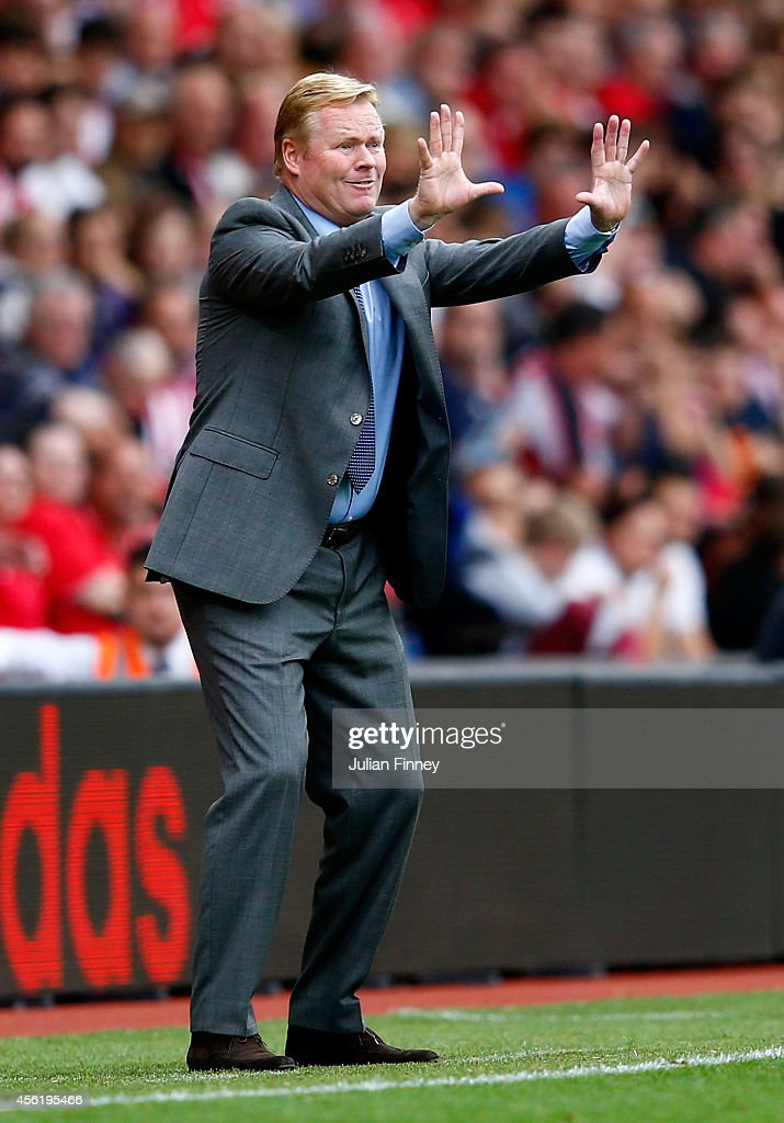 Manager Ronald Koeman of Southampton gestures from the touchline during the Barclays Premier League match between Southampton and Queens Park Rangers at St Mary's Stadium on September 27, 2014 in Southampton, England.