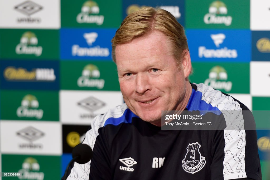 Manager Ronald Koeman speaks to the press during the Everton FC press conference at USM Finch Farm on May 19, 2017 in Halewood, England.