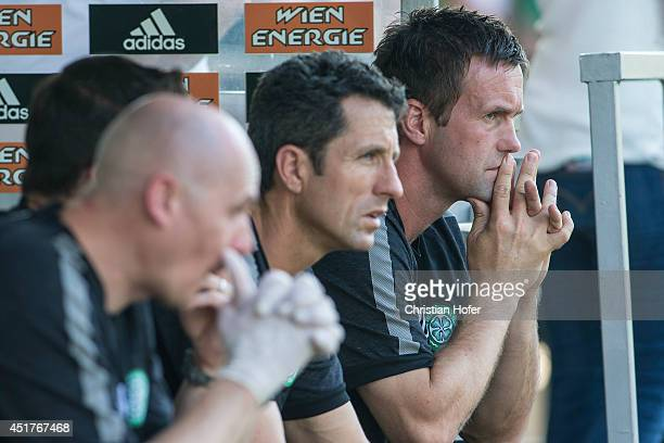 July 06: Manager Ronny Deila of Celtic Glasgow looks on during the Pre Season Friendly between SK Rapid Wien and Celtic Glasgow at...