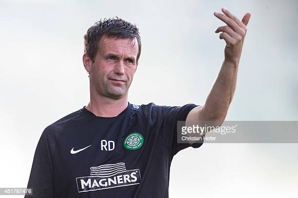 Manager Ronny Deila of Celtic Glasgow reacts on the touchline during the Pre Season Friendly between SK Rapid Wien and Celtic Glasgow at...