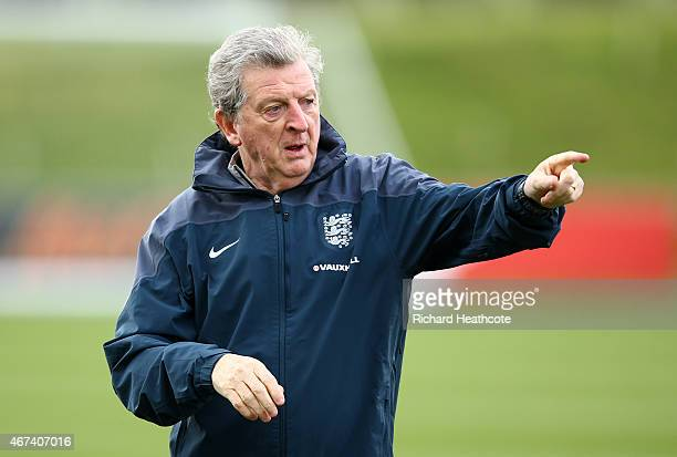 Manager Roy Hodgson gives directions during an England training session at St Georges Park on March 24, 2015 in Burton-upon-Trent, England.