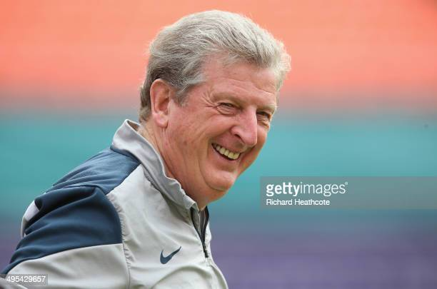 Manager Roy Hodgson looks on during an England training session at The Sunlife Stadium on June 3, 2014 in Miami, Florida. England are in Florida for...