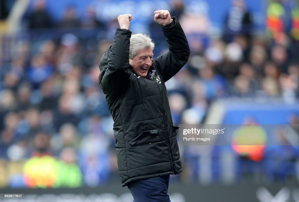 Manager Roy Hodgson of Crystal Palace celebrates after Wilfred Zaha of Crystal Palace scores to make it 0-2 during the Premier League match between Leicester City and Crystal Palace at King Power Stadium on December 16th , 2017 in Leicester, United Kingdom.