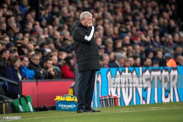 manager Roy Hodgson of Crystal Palace reaction during the Premier League match between Crystal Palace and Liverpool FC at Selhurst Park on November...