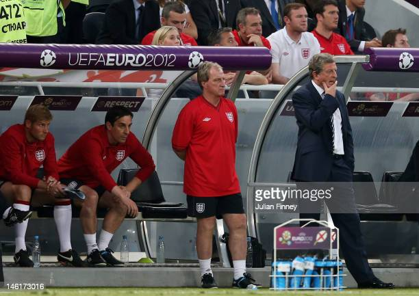 Manager Roy Hodgson of England looks on during the UEFA EURO 2012 group D match between France and England at Donbass Arena on June 11 2012 in...