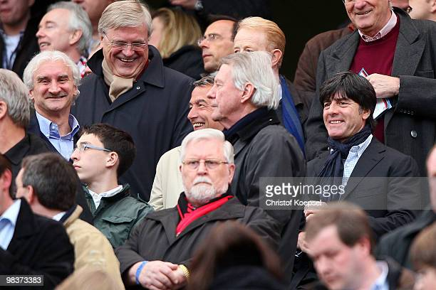 Manager Rudi Voeller and German national coach Joachim Loew are seen before the Bundesliga match between Bayer Leverkusen and FC Bayern Muenchen at...