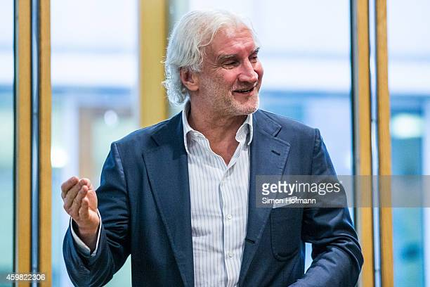 Manager Rudi Voeller of Bayer Leverkusen gestures prior to the decision of DFB Court on the objection to the length of a 3 match ban in the DFB Cup...
