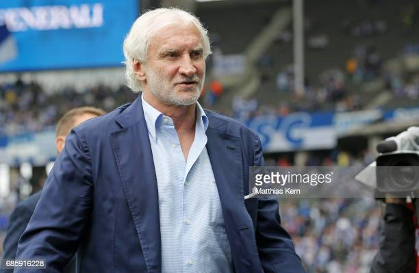 Manager Rudi Voeller of Leverkusen looks on prior to the Bundesliga match between Hertha BSC and Bayer 04 Leverkusen at Olympiastadion on May 20 2017...