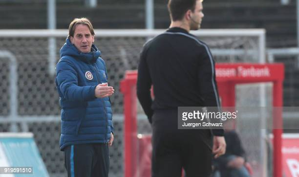 Manager Ruediger Rehm of Wiesbaden talks to the linesman during the 3 Liga match between SC Fortuna Koeln and SV Wehen Wiesbaden at Suedstadion on...