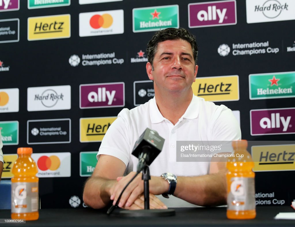 Manager Rui Vitória of Benfica speaks to the press after the match against Juventus FC during the International Champions Cup at Red Bull Arena on July 28, 2018 in Harrison, New Jersey.