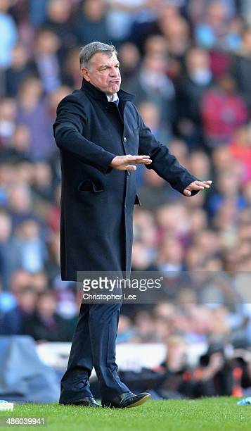 Manager Sam Allardyce of West Ham United seems to show his disappointment with a decision during the Barclays Premier League match between West Ham...
