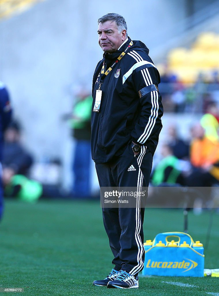 Manager Sam Allardyce of West Ham United vents frustration at his players during the Football United New Zealand Tour 2014 match between Sydney FC and West Ham United at Westpac Stadium on July 26, 2014 in Wellington, New Zealand.
