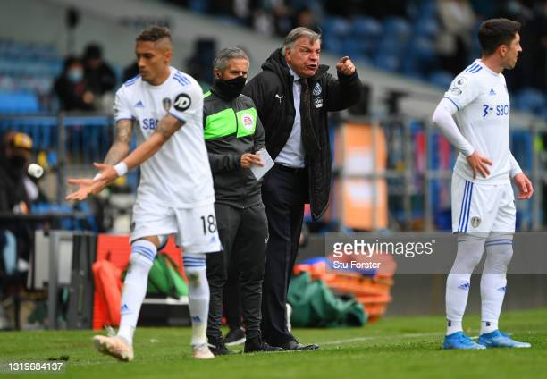 Manager Sam Allardyce reacts on the touchline in his last match as their manager during the Premier League match between Leeds United and West...