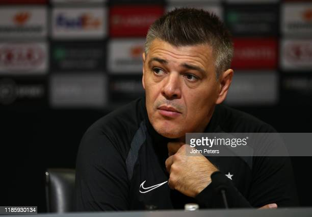 Manager Savo Milosevic of Partizan Belgrade speaks during a press conference at Old Trafford on November 06, 2019 in Manchester, England.