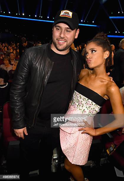 Manager Scooter Braun and recording artist Ariana Grande attend the 2015 American Music Awards at Microsoft Theater on November 22 2015 in Los...