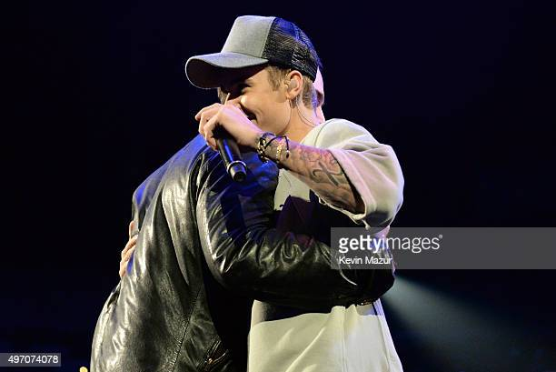 Manager Scooter Braun and singer/songwriter Justin Bieber speak onstage during an evening with Justin Bieber to celebrate the release of his new...