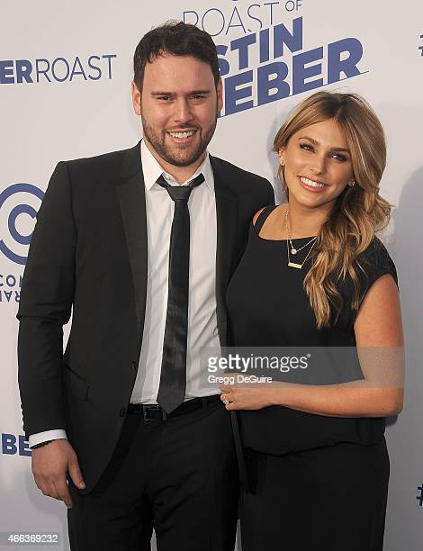 Manager Scooter Braun and wife Yael Cohen Braun arrive at the Comedy Central Roast of Justin Bieber on March 14 2015 in Los Angeles California
