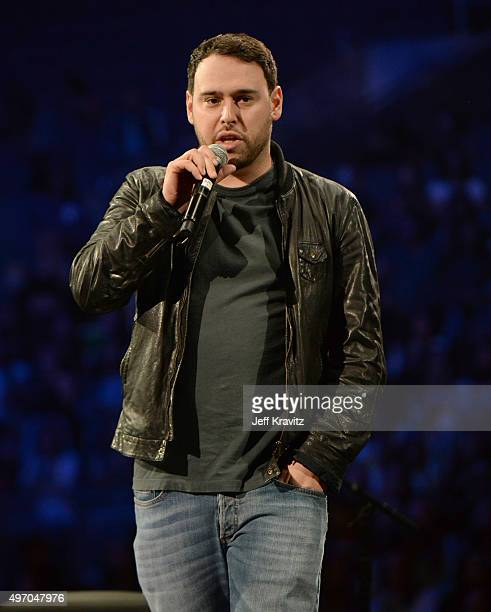 Manager Scooter Braun speaks onstage during an evening with Justin Bieber to celebrate the release of his new album 'Purpose' at Staples Center on...