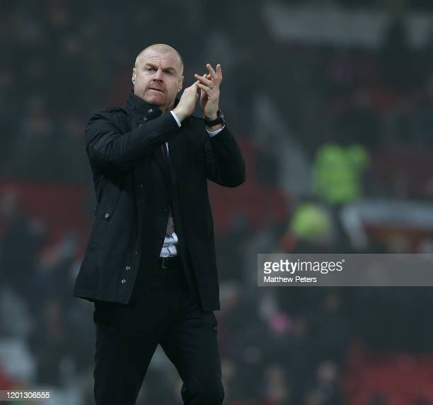 Manager Sean Dyche of Burnley celebrates after the Premier League match between Manchester United and Burnley FC at Old Trafford on January 22, 2020...