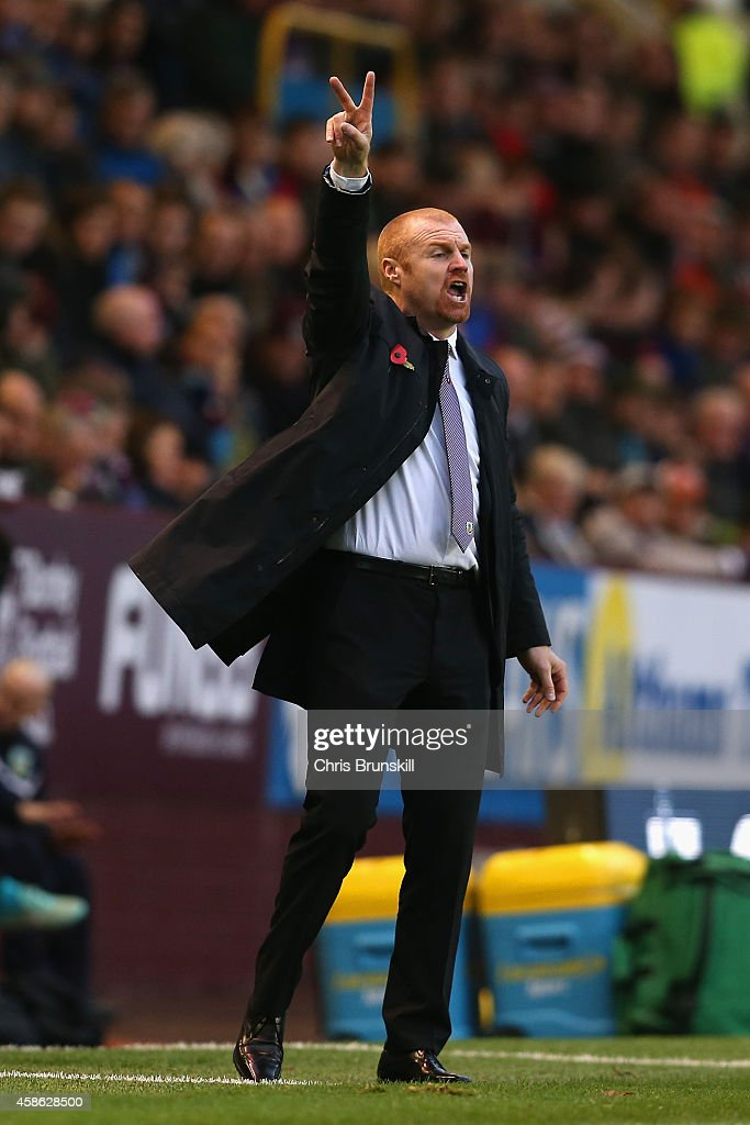 Manager Sean Dyche of Burnley gestures during the Barclays Premier League match between Burnley and Hull City at Turf Moor on November 8, 2014 in Burnley, England.
