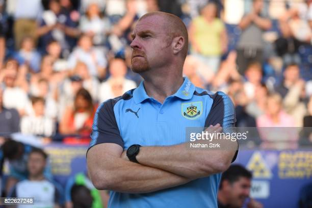 Manager Sean Dyche of Burnley looks on during the pre season friendly match between Preston North End and Burnley at Deepdale on July 25 2017 in...