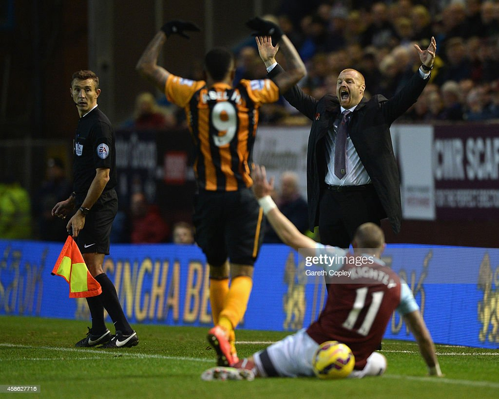 Manager Sean Dyche of Burnley reacts during the Barclays Premier League match between Burnley and Hull City at Turf Moor on November 8, 2014 in Burnley, England.