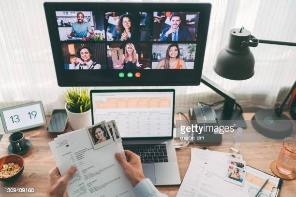 hr manager selecting online new applicants for job - interview event stock pictures, royalty-free photos & images