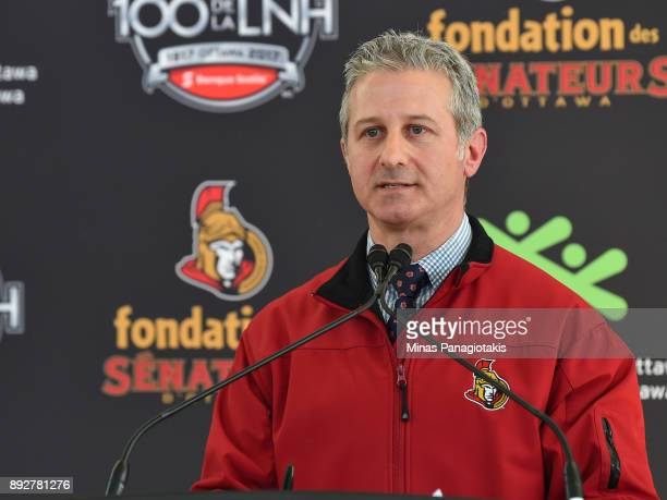 Manager Sens Rinks and Community Programs Barry Seller addresses the guests during the 2017 Scotiabank NHL100 Classic Legacy Project press conference...