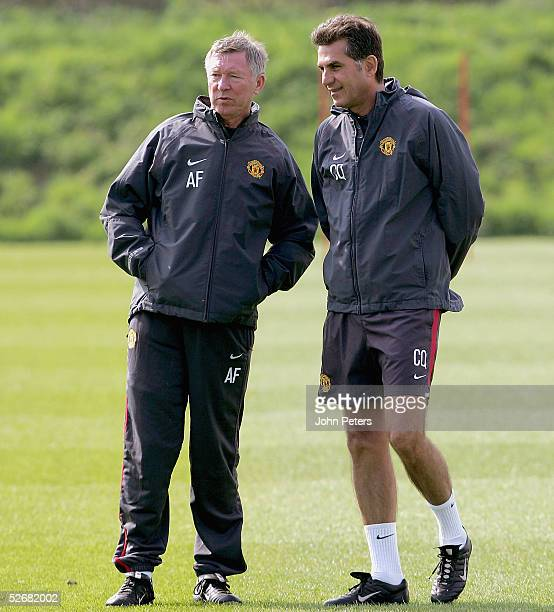 Manager Sir Alex Ferguson and Assistant Manager Carlos Queiroz of Manchester United in action during a first team training session at Carrington...