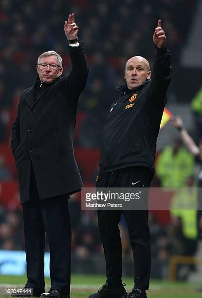Manager Sir Alex Ferguson and assistant manager Mike Phelan of Manchester United gesture from the touchline during the FA Cup Fifth Round match...