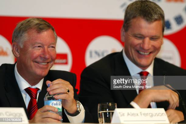 Manager Sir Alex Ferguson and CEO of Manchester United David Gill attend the Manchester United press conference at Grand Hyatt Hotel Hong Kong 22...