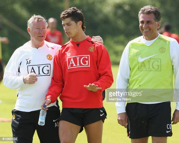 Manager Sir Alex Ferguson, Cristiano Ronaldo and Assistant Manager Carlos Queiroz of Manchester United in action during a First Team training session...