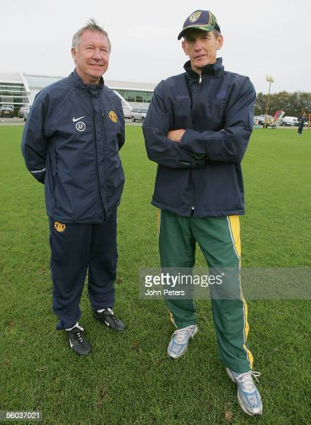 Manager Sir Alex Ferguson meets the coach Wayne Bennet of the Australian Rugby league team the Kangaroo's during a first team training session at...