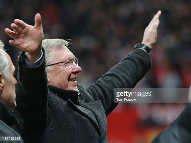 Manager Sir Alex Ferguson of Manchester United celebrates at final whistle of the Barclays Premier League match between Manchester United and Aston...