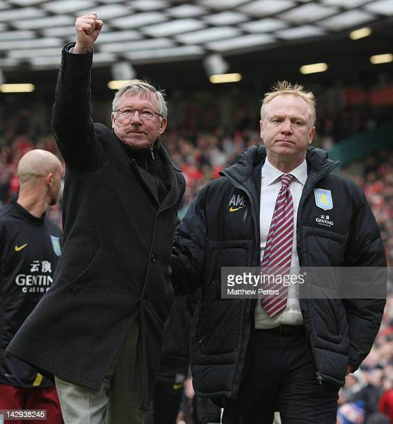 Manager Sir Alex Ferguson of Manchester United celebrates while manager Alex McLeish of Aston Villa shows his disappointment after the Barclays...