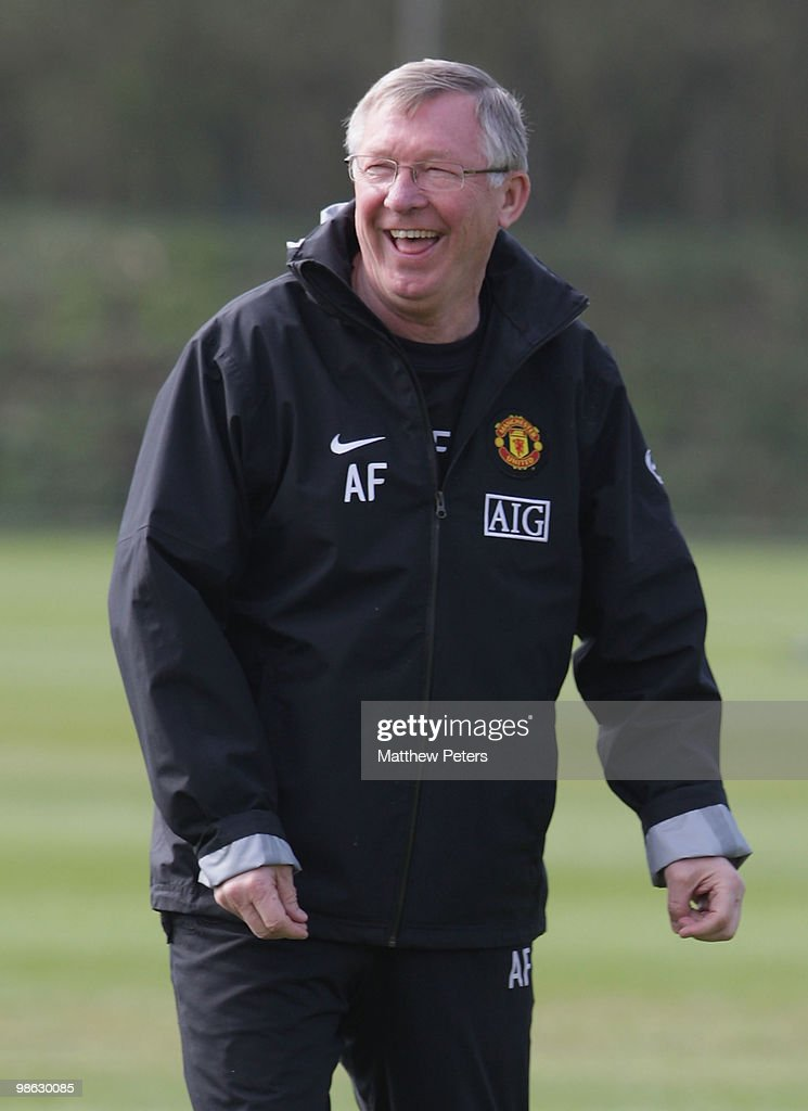 Manager Sir Alex Ferguson of Manchester United during a First Team Training Session at Carrington Training Ground on April 23 2010, in Manchester, England.