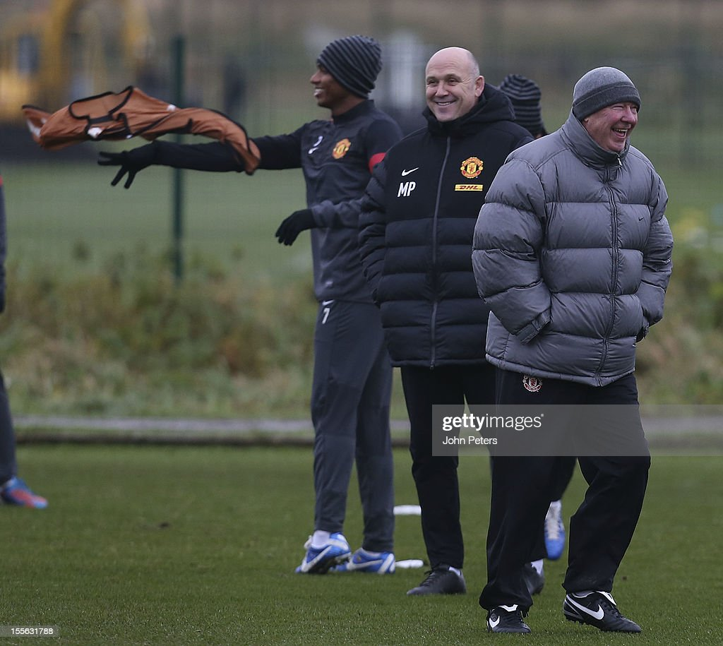 Manager Sir Alex Ferguson (R) of Manchester United in action during a first team training session, ahead of their UEFA Champions League Group H match against SC Braga, at Carrington Training Ground on November 6, 2012 in Manchester, England.