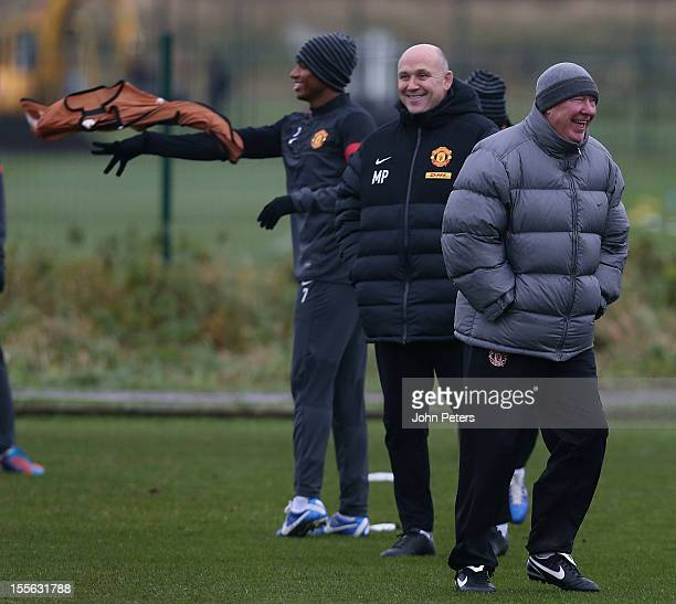 Manager Sir Alex Ferguson of Manchester United in action during a first team training session ahead of their UEFA Champions League Group H match...