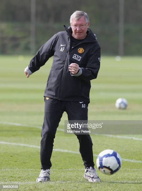 Manager Sir Alex Ferguson of Manchester United in action on the ball during a First Team Training Session at Carrington Training Ground on April 23...