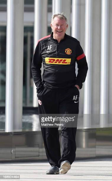 Manager Sir Alex Ferguson of Manchester United makes his way to his final pre-match press conference as Manchester United manager at Carrington...