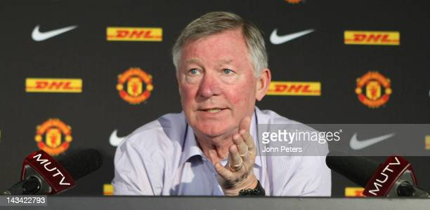 Manager Sir Alex Ferguson of Manchester United speaks during a prematch press conference at Carrington Training Ground on April 26 2012 in Manchester...