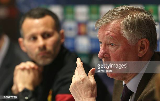 Manager Sir Alex Ferguson of Manchester United speaks during a press conference ahead of their UEFA Champions League Round of 16 match against Real...