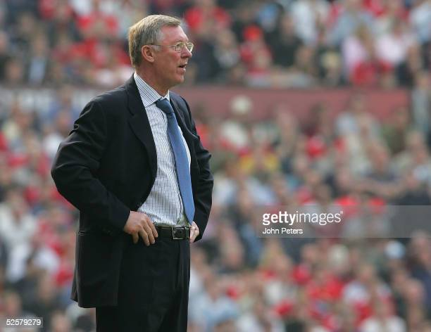 Manager Sir Alex Ferguson stands on the touchline during the Barclays Premiership match between Manchester United and Blackburn Rovers at Old...