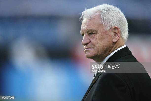 Manager Sir Bobby Robson of Newcastle United watches his players warm up during the UEFA Cup Semi-Final, Second Leg match between Olympique De...