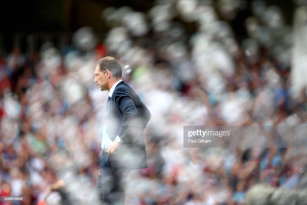 Manager Slaven Bilic of West Ham United looks on from the touchline during the Barclays Premier League match between West Ham United and Swansea City at the Boleyn Ground, May 7, 2016, London, England.